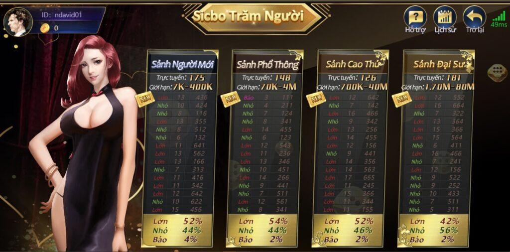 Sicbo với nhiều cổng đặt cược để người chơi tự do chọn lựa
